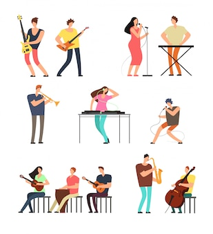 People performing music. musicians with musical instruments. vector cartoon characters isolated