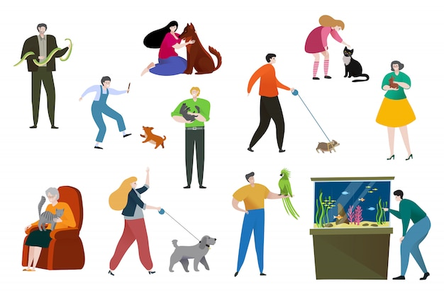 People pet owner illustration, cartoon flat happy woman man character have fun, playing with own animal, love pet isolated on white