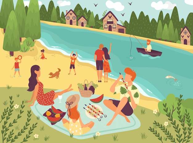 People on picnic outdoor with food and summer leisure, family on grass near trees and river with boat caroon  illustration.