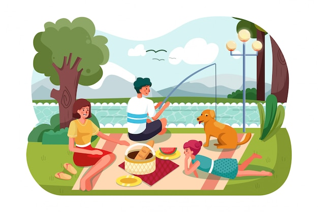 People on picnic outdoor with food and summer leisure, family on grass near trees and river