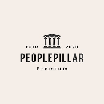 People pillar hipster vintage logo  icon illustration