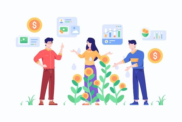 사람들은 비즈니스 머니 플랜트 개념 평면 스타일 디자인 일러스트를 성장시키기 위해 팀워크 전략을 계획합니다.