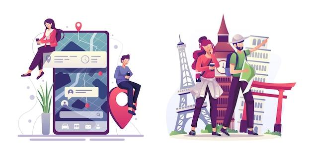 전 세계 여행을 계획하는 사람들은 지도를 가리키고 휴대전화, 여행 및 휴가 개념에서 앱을 사용하고 있습니다.