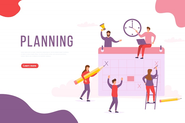 人々の計画の概念。グループのキャラクターは人々が計画を立てています。プロジェクト管理と財務報告戦略。 webバナー、インフォグラフィック、ヒーロー画像に使用できます。図。