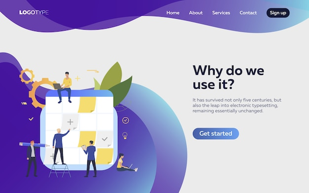People planning work landing page