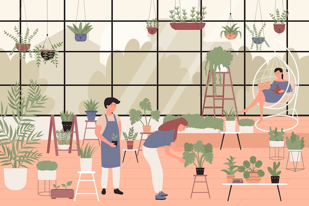 People planting green plants in greenhouse home garden
