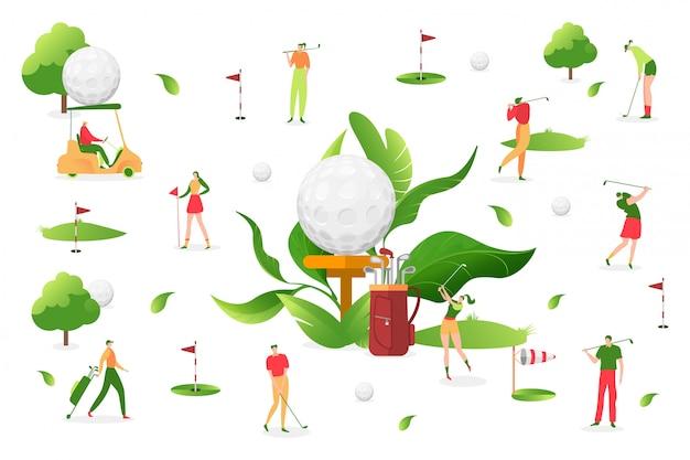 Люди играют гольф на белой предпосылке, иллюстрации. мужчина женщина персонаж, спорт на свежем воздухе. профессиональный игрок