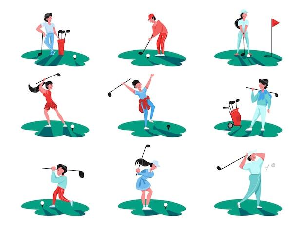 사람들은 골프 세트를 재생합니다. 사람이 클럽과 공을 들고. 여름