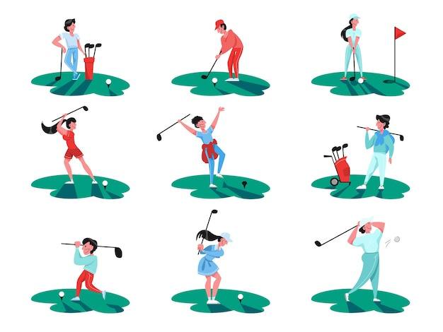 People play golf set. person holding club and ball. summer