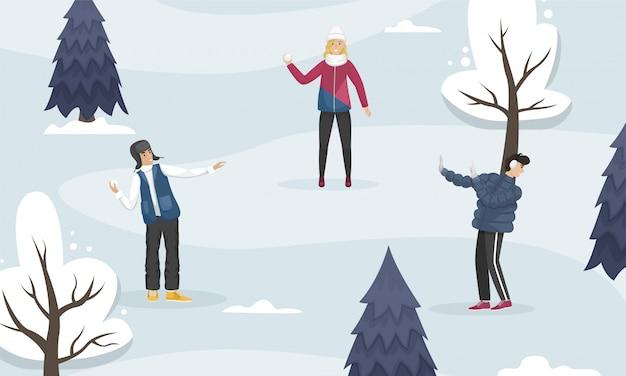 人々は森の中で雪玉をします。冬のエンターテイメント。フラットの図。