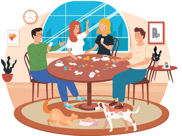 People playing a board game at home cartoon illustration