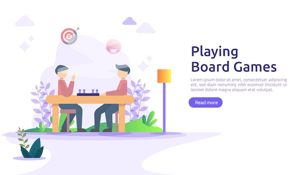 Люди играют в настольные или настольные игры вместе концепции.