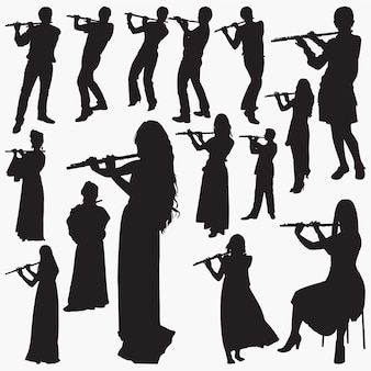 People playing flute silhouettes
