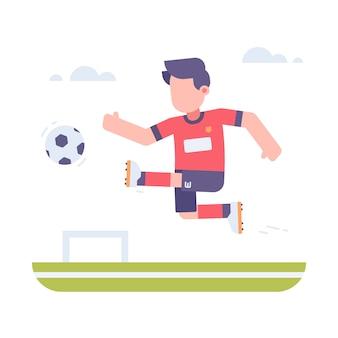 Люди играют в футбол на поле иллюстрация