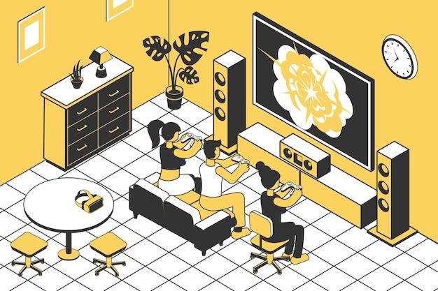 居間等角でジョイスティックを使ってゲーム機をプレイしている人