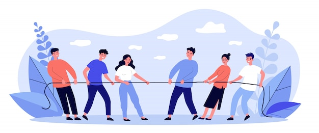 People playing game and pulling rope   illustration