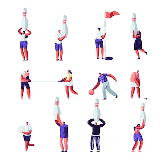 Люди играют в гольф и боулинг. летнее время на открытом воздухе и в помещении веселая деятельность, здоровый образ жизни. персонажи со спортивным инвентарем.