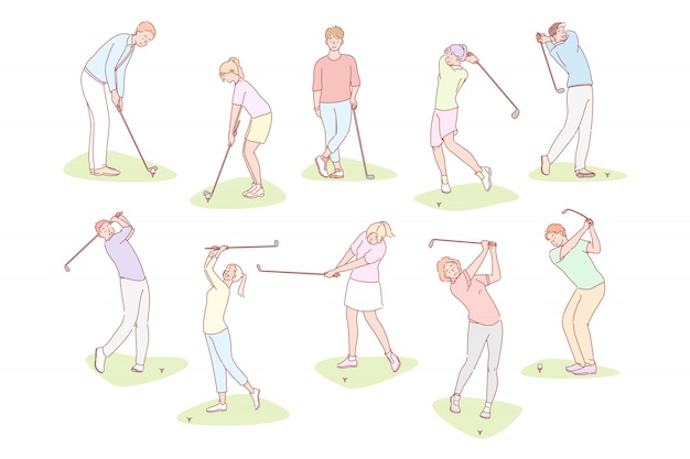 People playing golf set concept