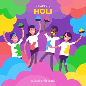 People playing holi festival background