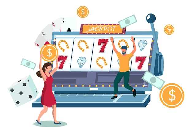ラップトップコンピューター、フラットベクトルイラストを使用してインターネットスロットマシンゲームをプレイする人々。カジノ事業。スロットジャックポット。オンラインカジノギャンブル。