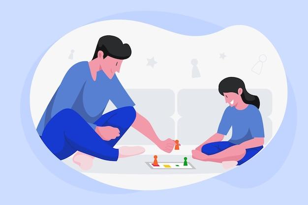 Люди играют в лудо-игру