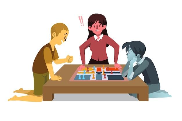 ルドーゲームをしている人