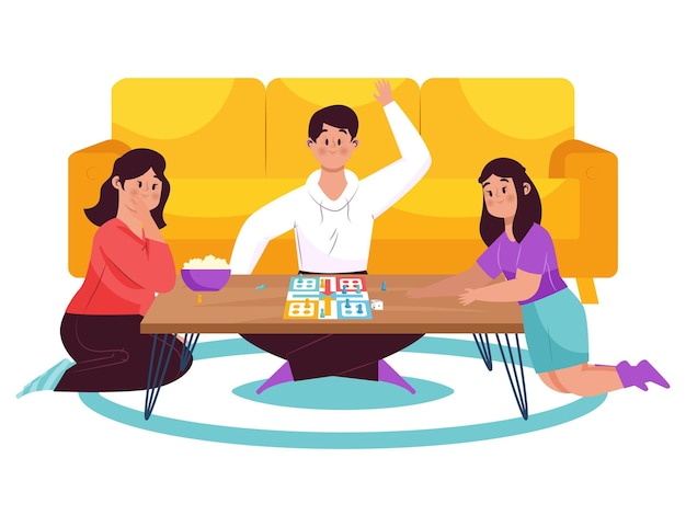 ルードゲームをプレイする人々