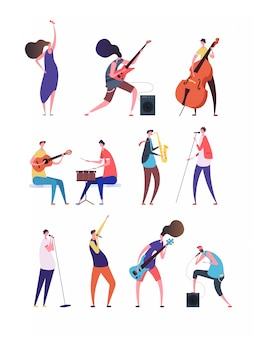People playing music. musicians performing rock music singers with microphone guitarist and drummer. music band flat vector characters