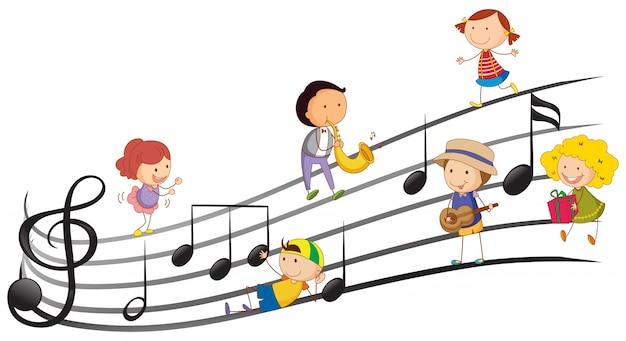 Люди, играющие на музыкальных инструментах с музыкальными нотами в фоновом режиме Бесплатные векторы