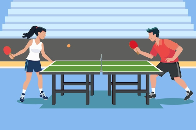 People playing table tennis