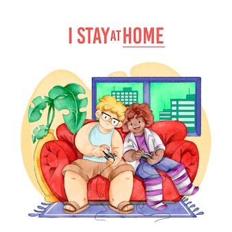 Люди играют в видеоигры дома
