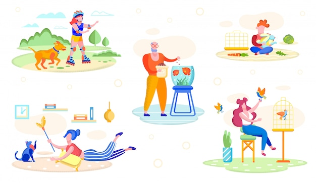 People playing with pets flat vector concept