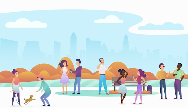 People playing with pets, talking and walking in a beautiful urban public park with modern city skyline on the background. trendy gradient color illustration