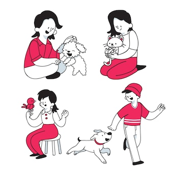 People playing with their pets illustration