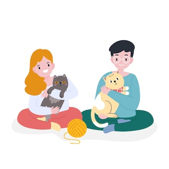 People playing with their pets
