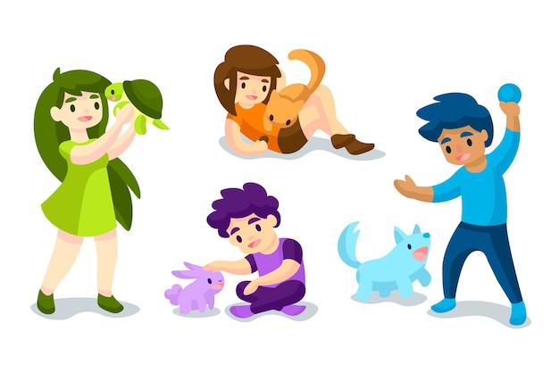 Le persone che giocano con i loro animali domestici