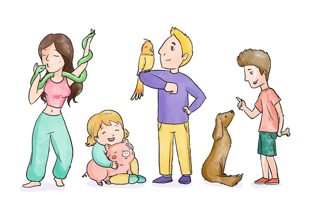 애완 동물을 가지고 노는 사람들