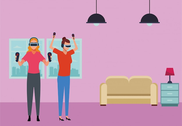 People playing with virtual reality glasses