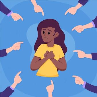 Le persone puntano le dita verso una donna