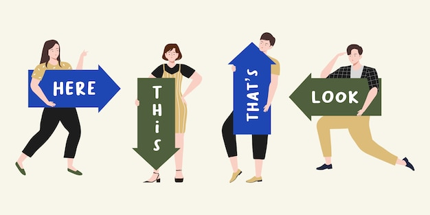 テキストスペースのイラストが上向き、下向き、左、右、大きな方向矢印を持っている人。男性と女性は方向をガイドします