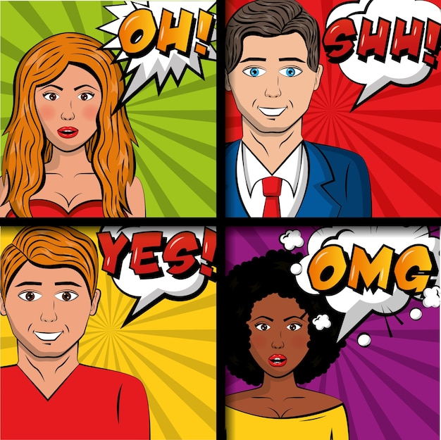 People pop art comic man and womaan speech bubbles phrases