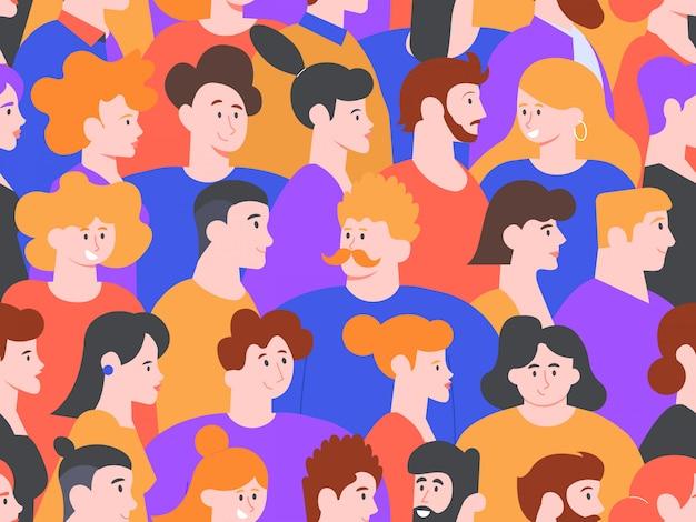 人の肖像画のシームレスなパターン。男性と女性の創造的なアバター、かわいい笑顔のキャラクター、社交デモの人々、または公開会議の背景