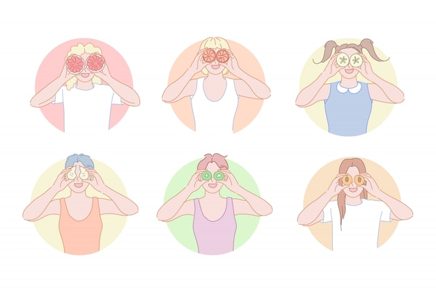 People posing with doughnuts illustration set