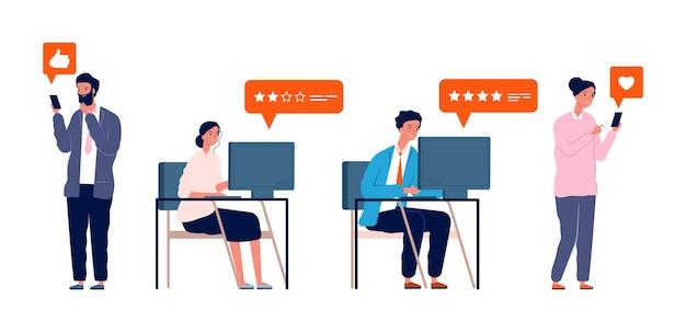 レビューを投稿する人。女性の男性が評価を与え、ソーシャルメディアやオンラインストアのベクターイラストにフィードバックを書きます。人々のソーシャルレビューオンライン、ポストインターネット