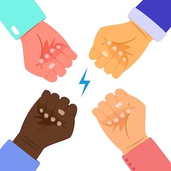 人々の力。一緒に異人種間の拳、対立または組合ベクトルの概念