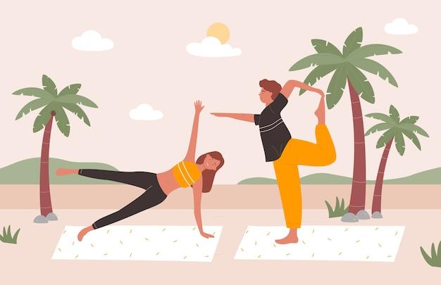 人々はビーチでヨガを練習しますベクトルイラスト、漫画の幸せな若い家族やカップルのキャラクターが一緒にヨガの練習をし、体の健康を訓練します