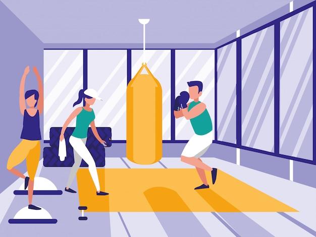 체육관에서 권투를 연습하는 사람들