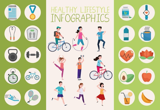 People practicing exercise and healthy lifestyle elements set illustration