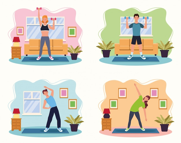 People practicing exercise in the house vector illustration design