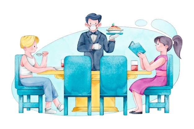 Persone che praticano l'allontanamento sociale nel ristorante
